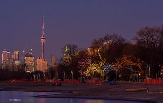 Toronto skyline and Woodbine boardwalk (with Xmas lights)