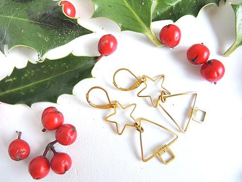 2019 DIY Christmas tree earrings