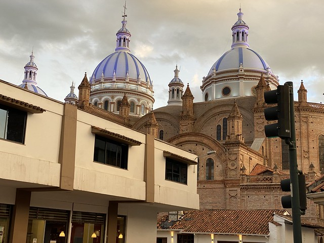 The Domes of the New Cathedral (the Catedral Metropolitana de la Inmaculada Concepción), the Historic City Center of Cuenca at 2,560 meters (8,398 ft) above sea level, the Southern Highlands, Ecuador.