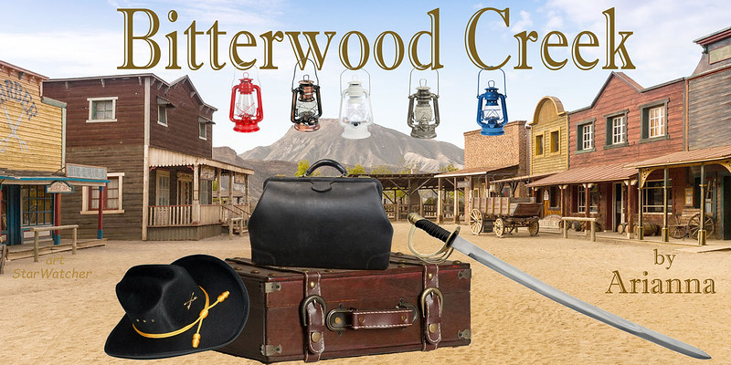 Backdrop is a slightly faded image of a view down the middle of a dirt street of an Old West town, with wooden buildings and sidewalks on each side; in the distance, rising over the end of the street, is a craggy small mountain.  In the center foreground is a strapped brown leather suitcase laying on its side; a large black leather medical bag sits on top.  A cavalry officer's hat leans against the suitcase on the left side; a cavalry saber is on the right side, with its hilt resting on the suitcase, the blade slanting down to rest in the dirt.  Text reads 'Bitterwood Creek' in sky above town; hanging from separate letters in the middle of the title are five hurricane oil lanterns -- one each red, bronze, white, tin, blue.