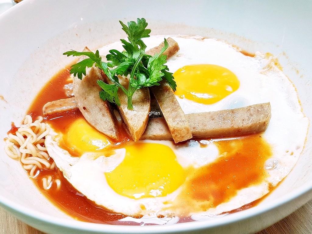 Tomato Noodle Soup, 3 Eggs, Luncheon Meat
