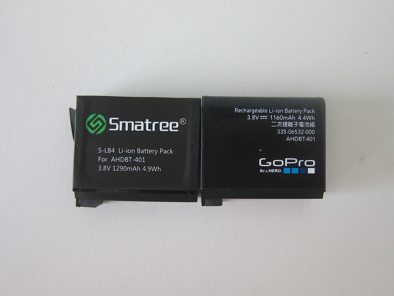 Smatree Battery for GoPro HERO4 vs Original GoPro HERO4 Battery - Front