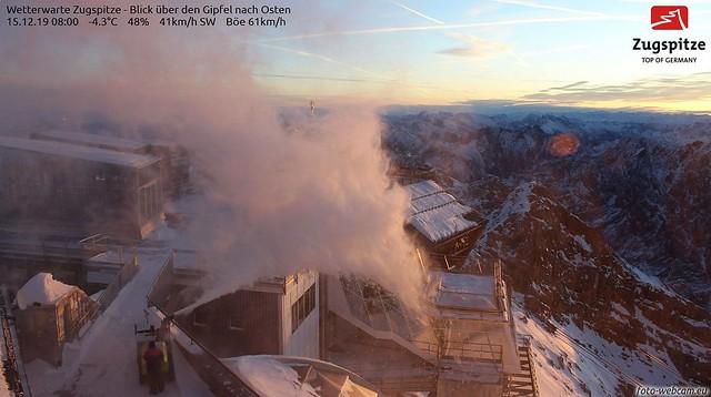 schneefräsen Zugspitze Gegenwind