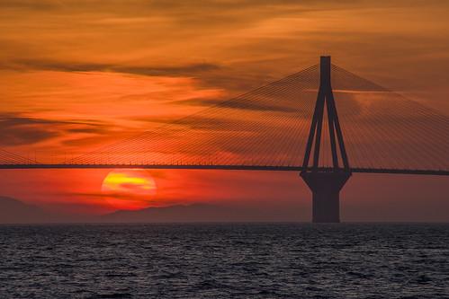 rioantirrio sunset bridge sea sky clouds cloudy red color colorful colorfulsky peloponnisos greece tpe