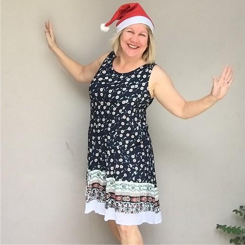 Janet in Santa hat