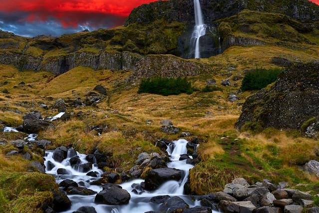 Bjarnafoss waterfall in Snaefellsnes Peninsula Iceland