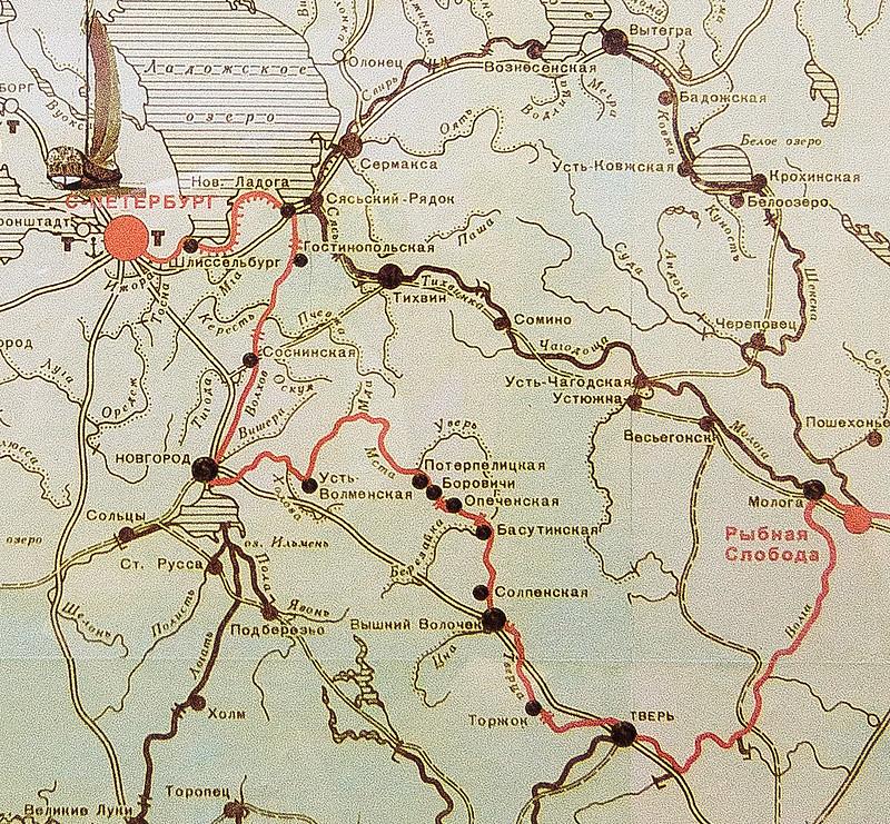 Путь по Вышневолоцкой водной системе из Рыбинска в Санкт-Петербург