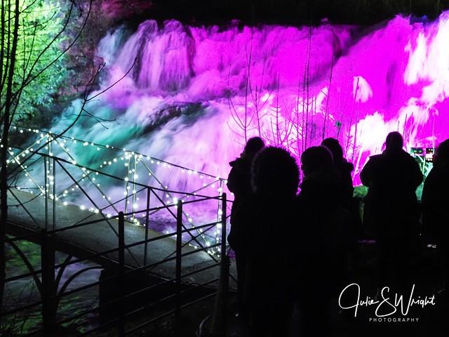 Illuminated waterfall, Blenheim light trail