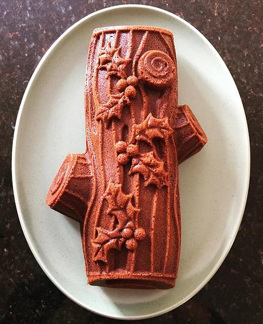Lazy person's Yule Log. 🎄 Gingerbread cake baked in a log bunt pan. #baking #nordicware #bundtcake #gingerbreadcake #yulelog