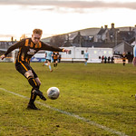 Nathan Meres fires in the Huntly equaliser from a tight angle