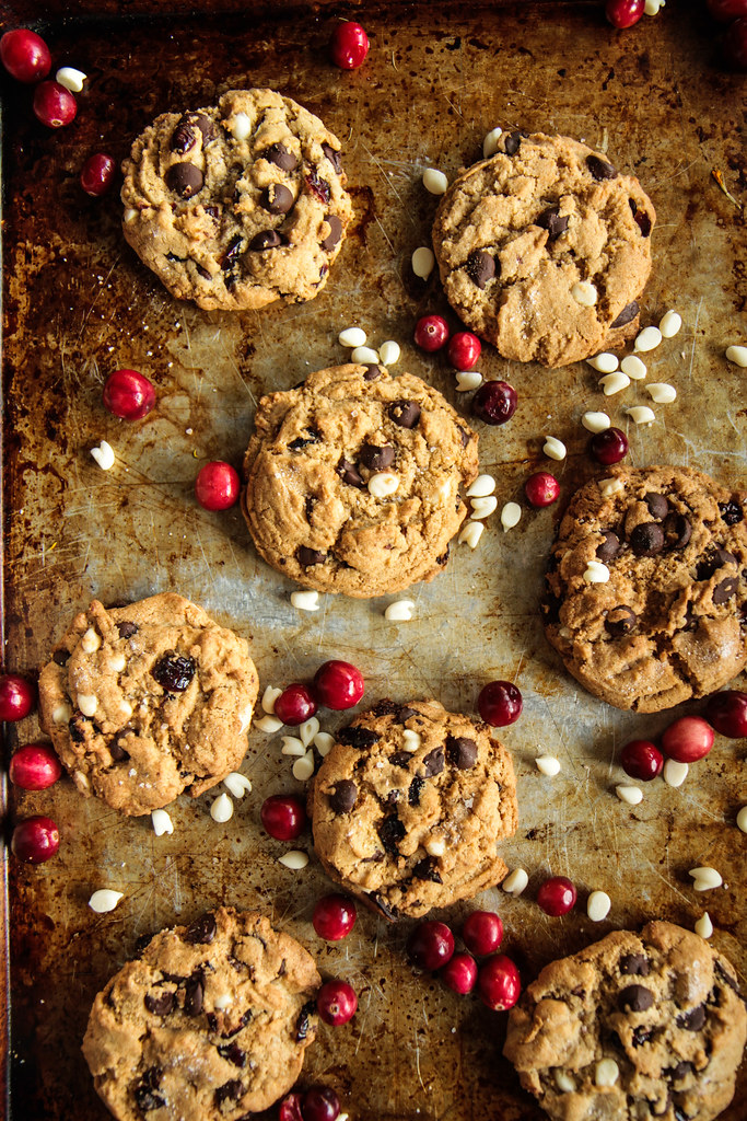 Chocolate, White Chocolate and Cranberry cookies (Vegan and Gluten-free) from heatherchristo.com