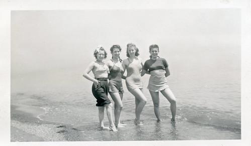 Four Women Posing at Water's Edge 1943