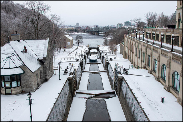 Rideau Locks On A Snowy Sunday