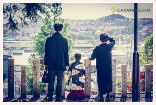 山口八幡社で七五三 家族の後ろ姿 愛知県瀬戸市