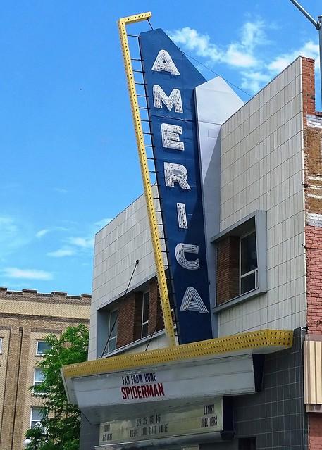 WY, Casper-America Theater Marquee & Neon Sign