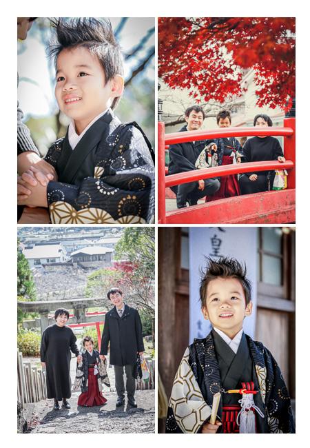 山口八幡社で七五三 5歳の男の子 家族との写真 境内にある長い階段