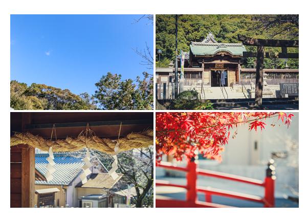山口八幡社(愛知県瀬戸市) 境内 紅葉 赤い橋