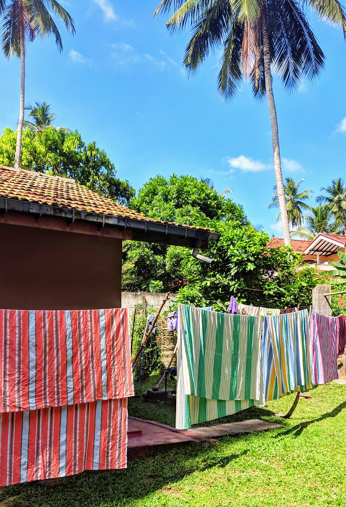 Freshly Washed Sheets Drying in a Tropical Breeze