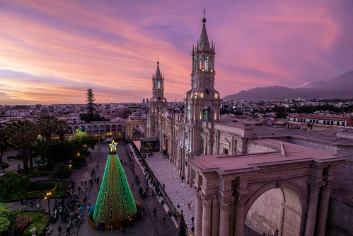 peru church cathedral baslica architecture sunset christmas sky clouds arequipa