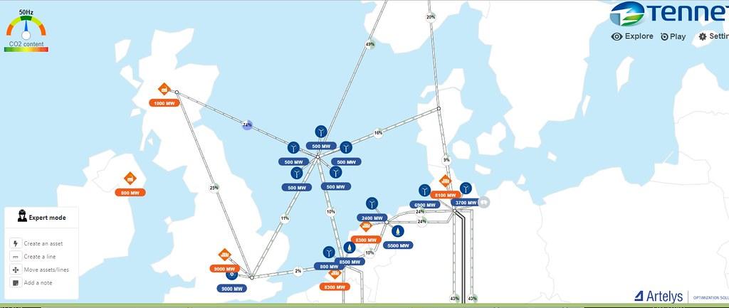 專家模式允許玩家建構新電網,也可以跨海挑戰。截圖自TenneT線上電網模擬遊戲