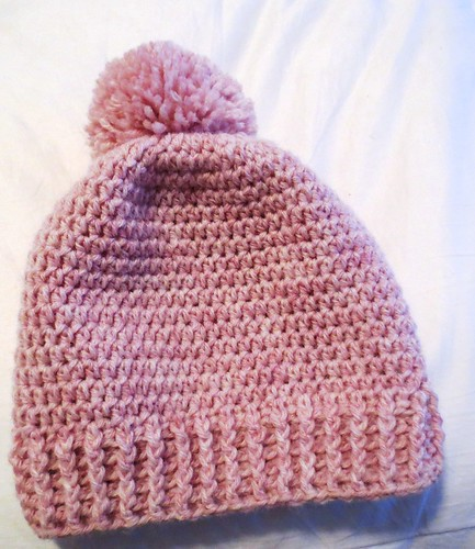 Blush Pom Pom Crocheted Hat