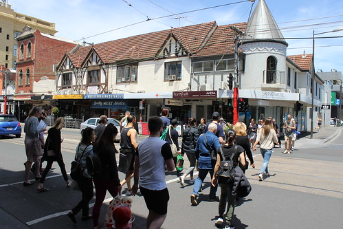 People crossing Commercial Road, South Yarra