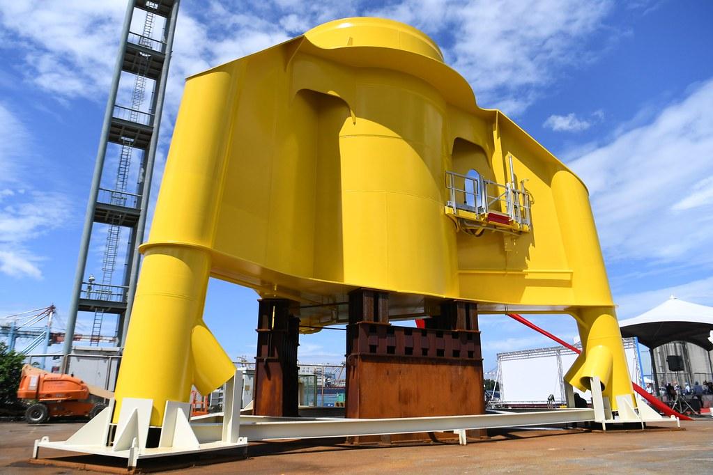 沃旭能源與中鋼集團旗下興達海基,攜手打造第一座台灣製水下基礎轉接段原型。圖片來源:沃旭能源