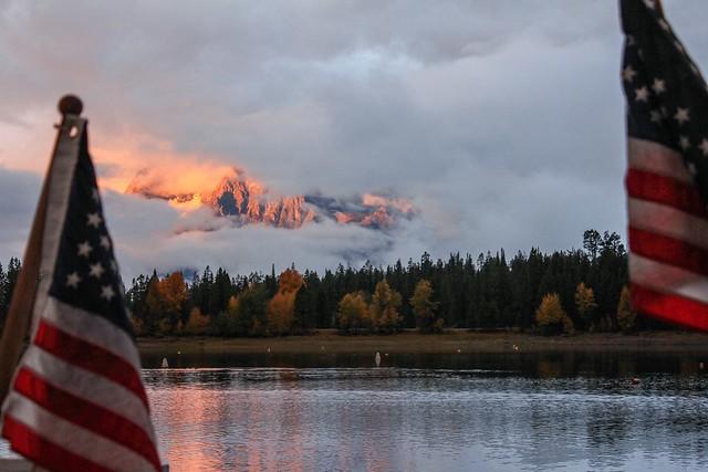 peeking at glowing Mt. Moran, Grand Teton National Park