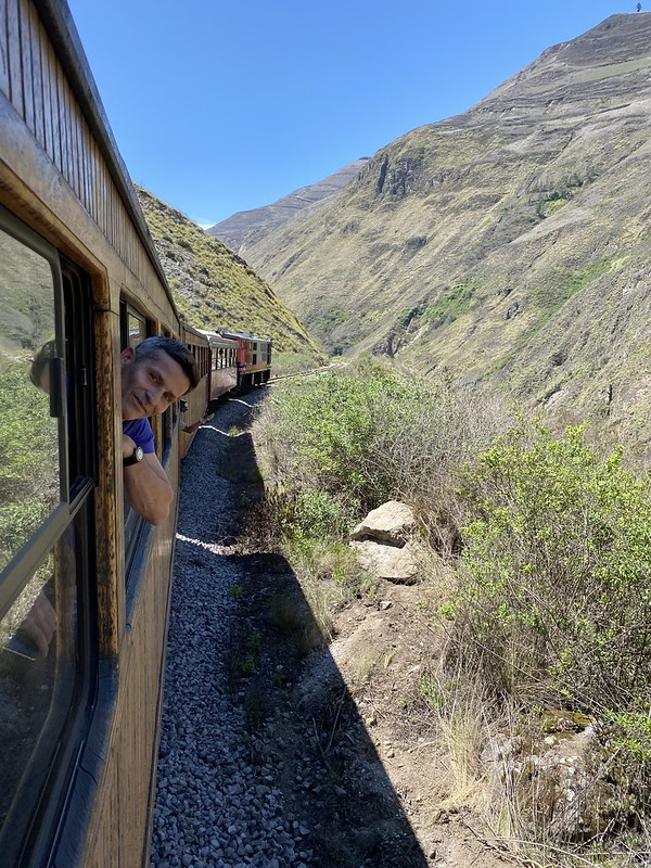 The Devil's Nose Train Ride (la Nariz del Diablo) at 2,690 meters (8,825 ft) above sea level, from Alausí (2,347m/7,700ft) to Sibambe (1,836m/6,023ft), Ecuador Train.