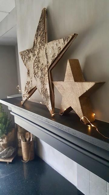 Houten kerst sterren schouw keuken