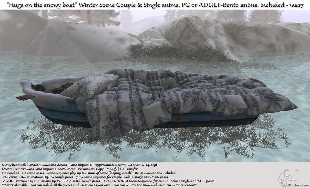 ".:Tm:.Creation ""Hugs on the snowy boat"" Winter Scene with anims. wa27"