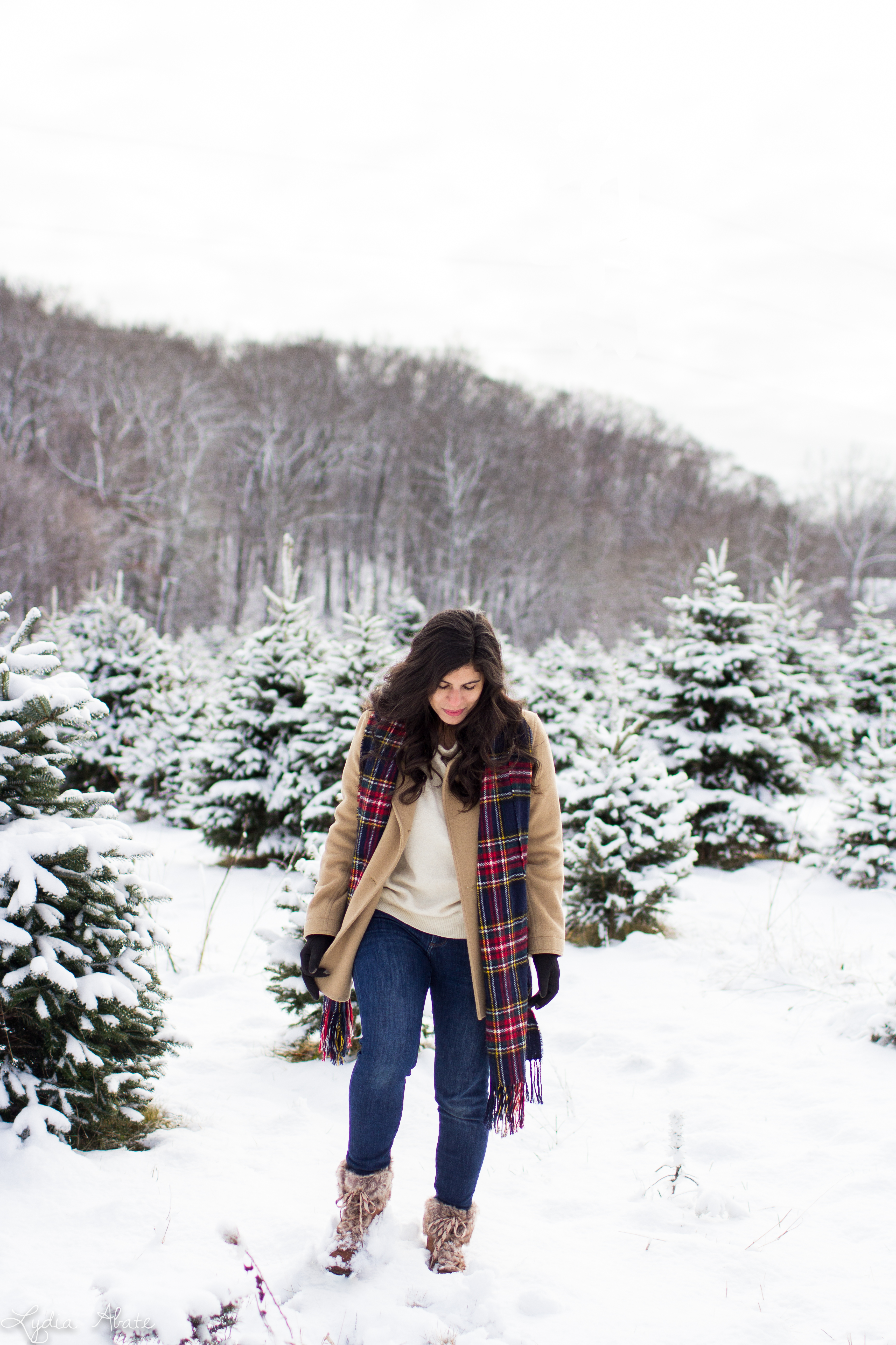 camel coat, white sweater, plaid scarf, fur trimmed hiking boots-6.jpg