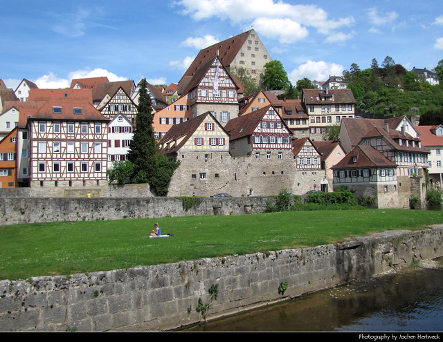 Old Town seen from across the river Kocher, Schwäbisch Hall, Germany