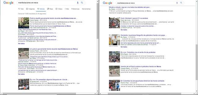 Búsqueda en la web sobre las manifestaciones sociales en Neiva-Huila.