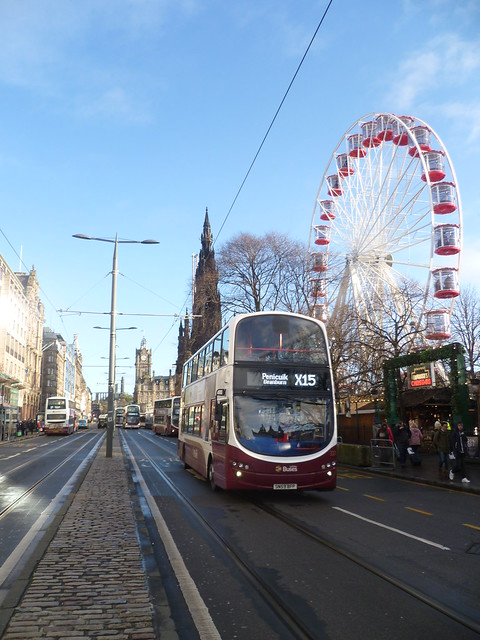 Lothian 333 outbound to Penicuik on Princes Street, Edinburgh.