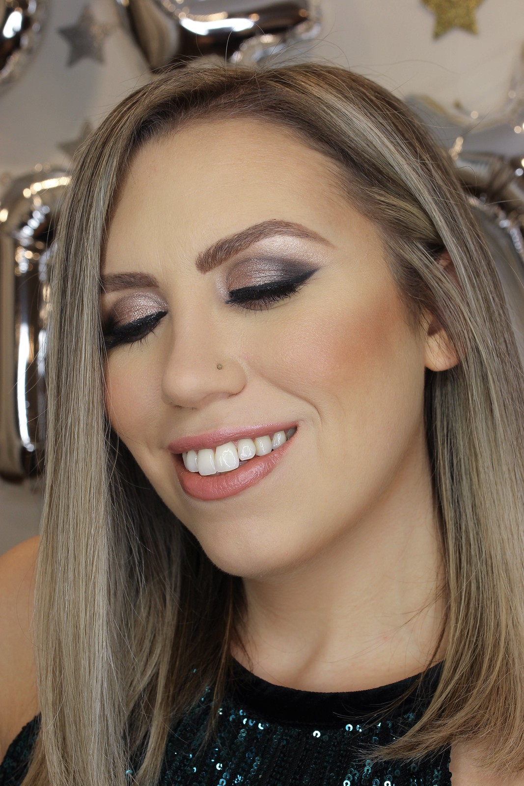 Glitter Eye Makeup Tutorial Smokey Cat Eye Holiday Look
