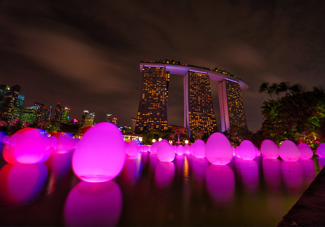 Colorful Night in Marina Bay Sands