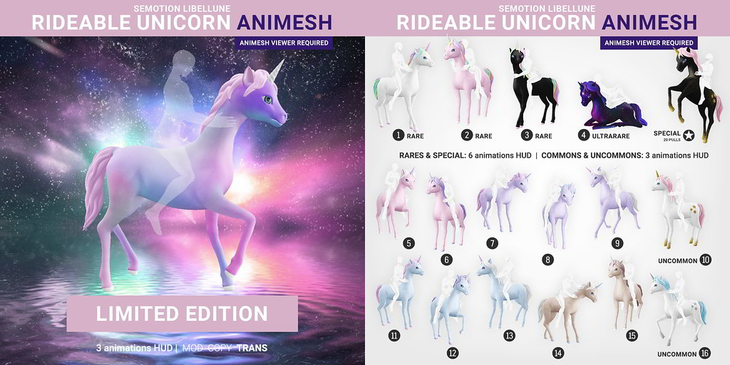 SEmotion Libellune Rideable Unicorn Animesh