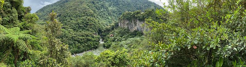 The Devil's Cauldron Waterfall (la Cascada Pailón del Diablo), the Highway of the Waterfalls (la Ruta de las Cascadas), Baños de Agua Santa at 1,800 metros (5,905 ft) above sea level, the Central Highlands, Ecuador.
