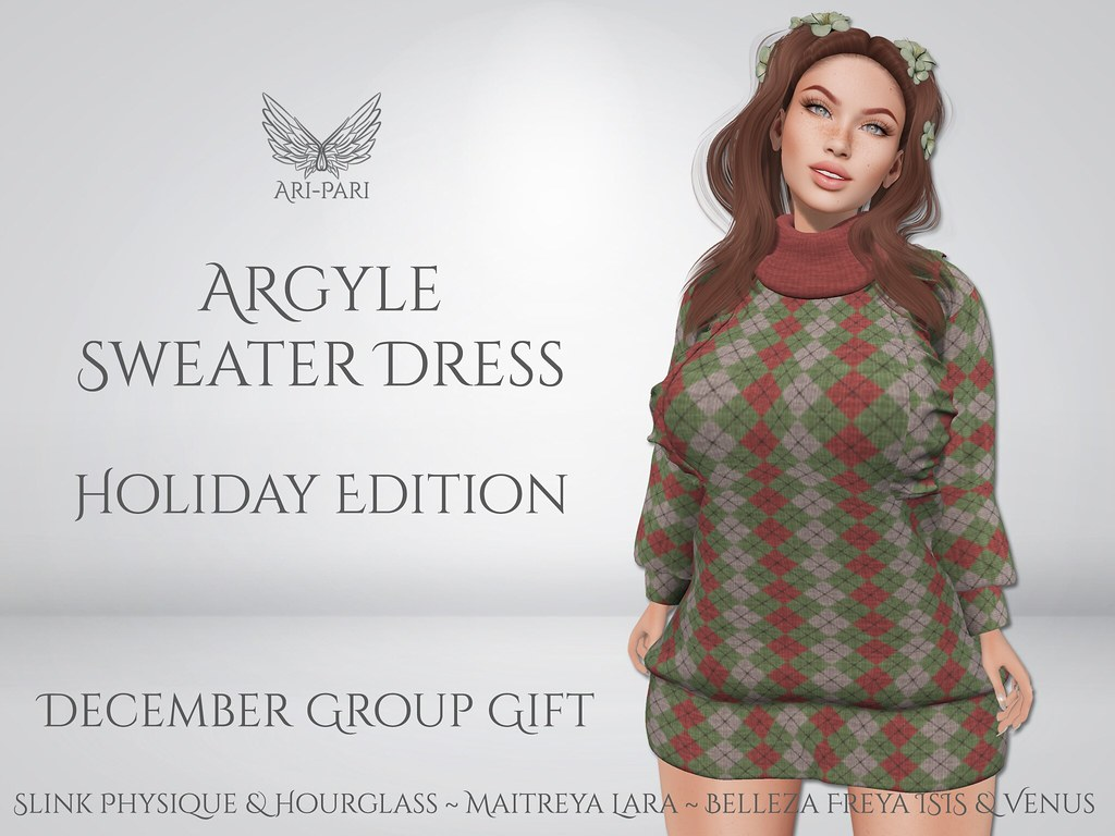 [Ari-Pari] Holiday Argyle Sweater Dress