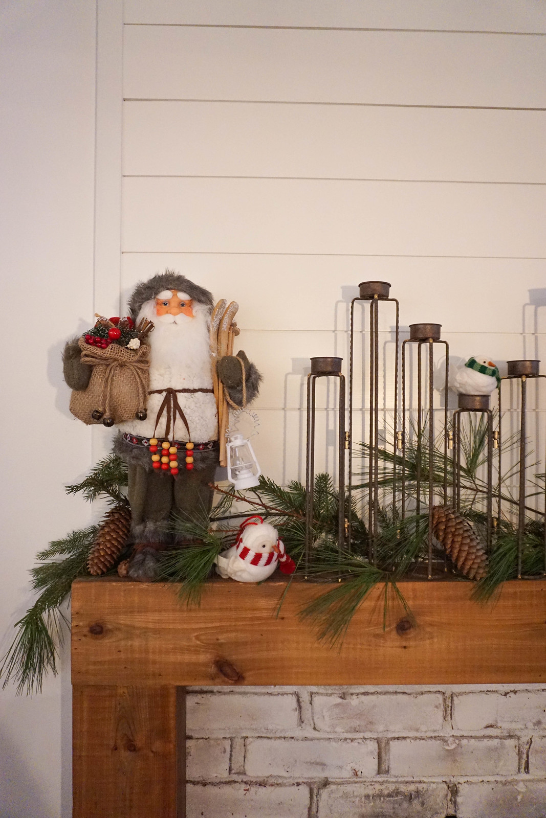 Mantle Christmas Decorations Santa Garland Candle Holders Inspiration