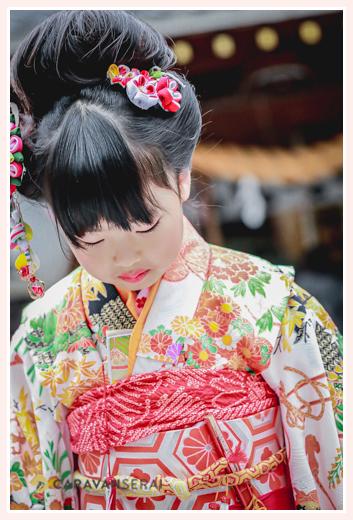 七五三 地毛で日本髪 7歳の女の子 ヘアスタイル