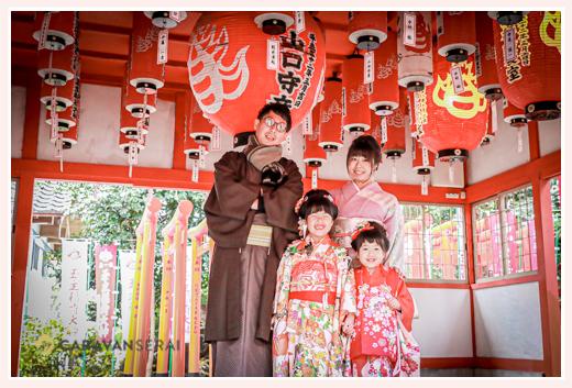 伊奴神社 名古屋市西区 家族写真 年賀状用 全員着物