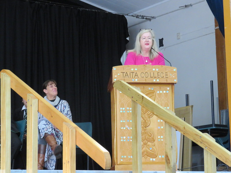 Desiree addressing her final school assembly at Taita College