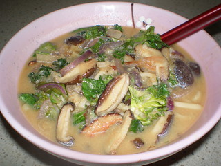 Udone with Shiitake Mushrooms and Kale in Miso Broth
