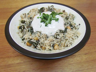 Fresh Dill-Basmati Rice with Chard and Chickpeas; Spiced Yoghurt Sauce