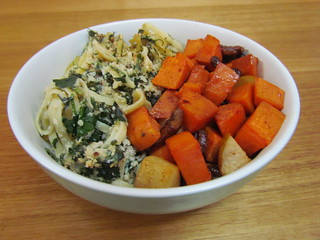 Spinach Noodle Kugel; Sweet Potato-Pear Tzimmes with Pecans and Raisins