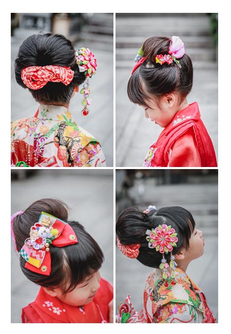 姉妹で七五三 地毛で日本髪を結う 赤い髪飾り