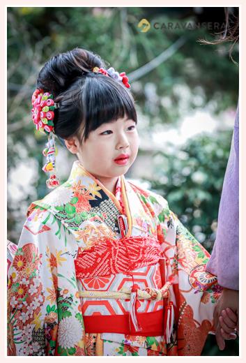 七五三 地毛で日本髪 数えで6歳の女の子