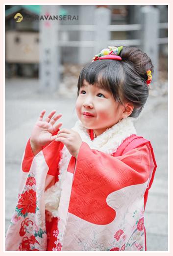 七五三 地毛で日本髪 3歳の女の子